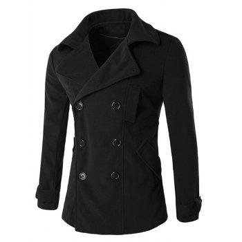 Back Vent Button Tab Cuff Epaulet Design Pea Coat
