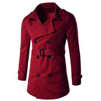 Epaulet Design Button Tab Cuff Belted Trench Coat