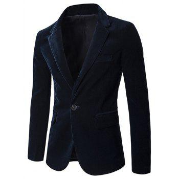Plain Corduroy Notch Lapel One-Button Blazer