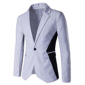 Notch Lapel Contrast Color One-Button Blazer