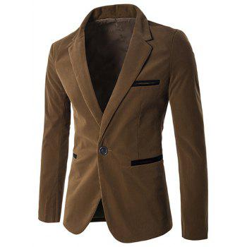 Notch Lapel Contrast Pocket Corduroy One-Button Blazer