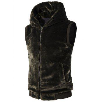 Hooded Rib-Hem Zip Up Plush Fleece Vest