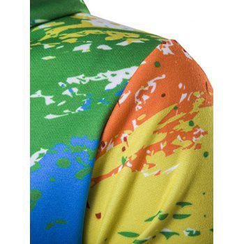 Zipper-Up Paint Splash Hoodie Imprimé - multicolorcolore XL