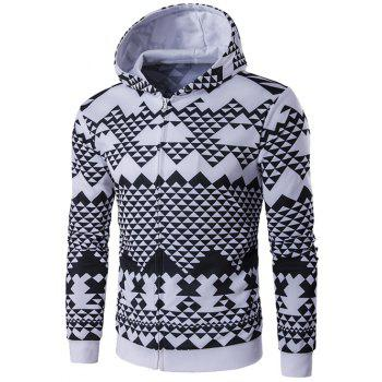 All-Over Geometric Printed Zip-Up Hoodie