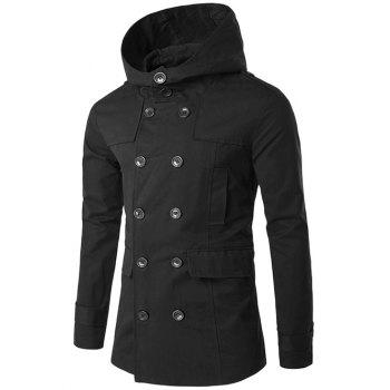 Double Breasted Splicing Hooded Wind Coat