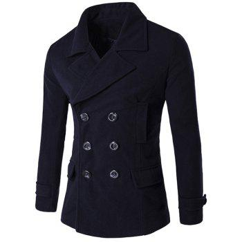 Lapel Double Breasted Spliced Wool Blend Coat