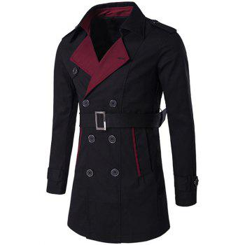 Double Breasted Notched Collar Color Block Trench Coat