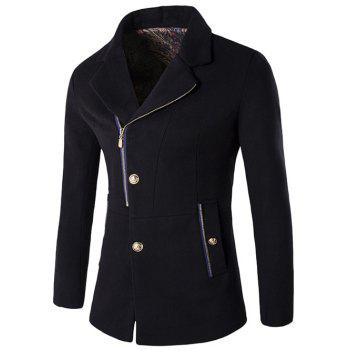 Lapel Collar Zip + Button Fly Wool Blend Coat