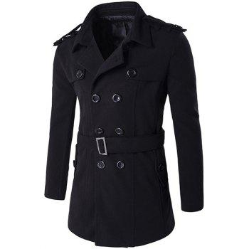 Epaulet Double Breasted Wool Blend Trench Coat