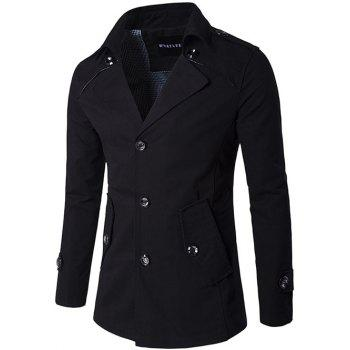 Epaulet Design Single Breasted Wind Coat