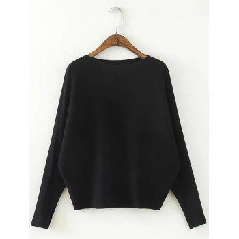 Comfortable Dolman Sleeve Knitted Sweater