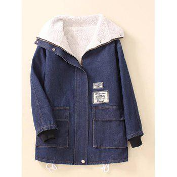 Pocket  Sherpa Fleece Denim Coat