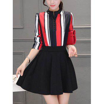 Colorful Striped Patchwork Swing Dress