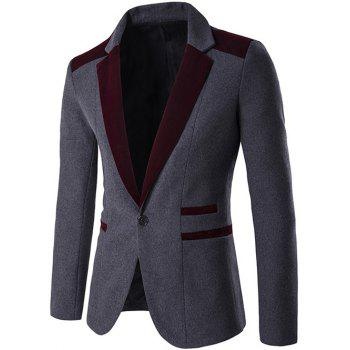Color Block Single Button Wool Blend Blazer