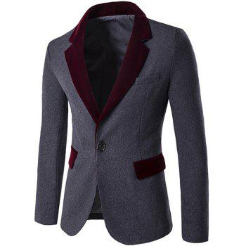 Single Breasted Lapel Color Block Wool Blend Blazer