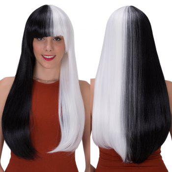 Stunning Long Full Bang Straight Tail Adduction Double Color Synthetic Wig