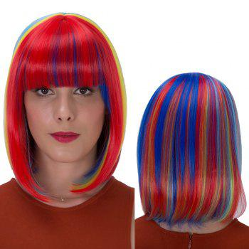 Rainbow Bob Haircut Short Straight Full Bang Synthetic Wig