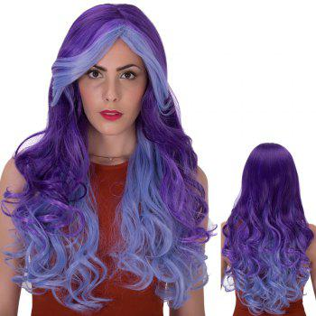 Stunning Long Wavy Side Bang Ombre Color Synthetic Wig