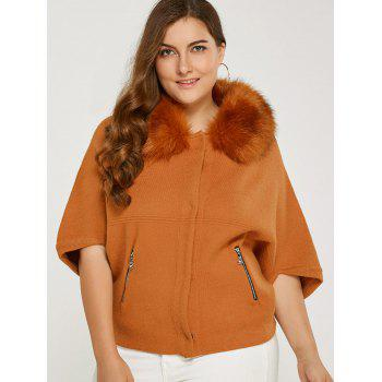 Casual Detachable Faux Fur Collar Short Coat