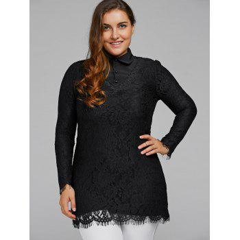 Lace Patchwork Scalloped Blouse