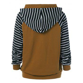Striped Trim Drawstring Hoodie - STRIPE STRIPE