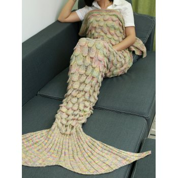 Comfortable Hollow Out Design Knitted Mermaid Tail Blanket - BEIGE