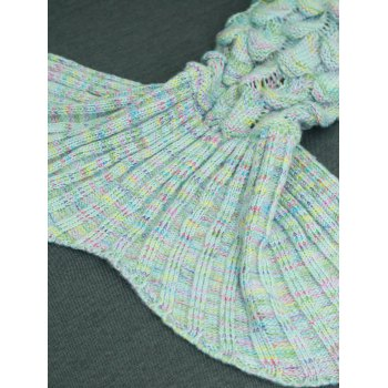 Comfortable Hollow Out Design Knitted Mermaid Tail Blanket - AZURE