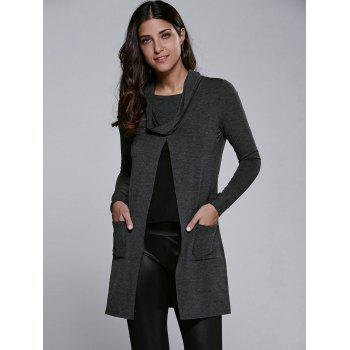 Buy Cowl Neck Front Slit Pullover BLACK GREY