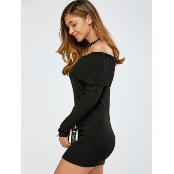 Off The Shoulder Knitted Mini Dress - BLACK ONE SIZE