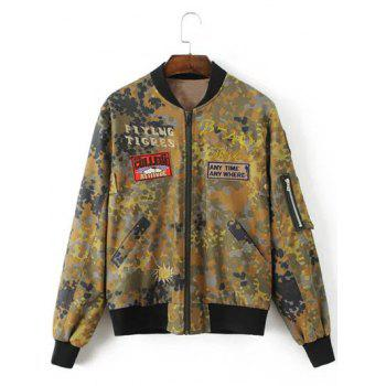 Letter Patched Camouflage Jacket