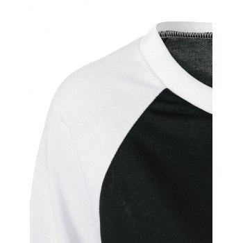 Raglan Sleeve Graphic Pullover Sweatshirt - BLACK BLACK