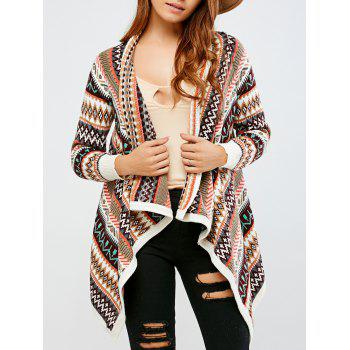 Color Block Striped Asymmetrical Cardigan