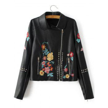 Buy Floral Embroidered Fitted Faux Leather Jacket BLACK