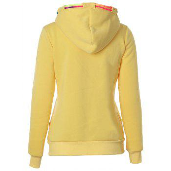 Drawstring Casual Zipper Up Hoodie - YELLOW YELLOW