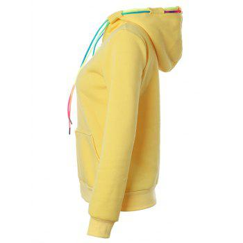 Drawstring Casual Zipper Up Hoodie - YELLOW M
