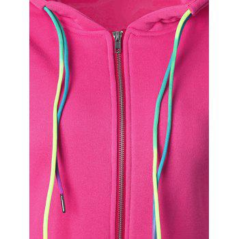 Drawstring Casual Zipper Up Hoodie - ROSE RED L
