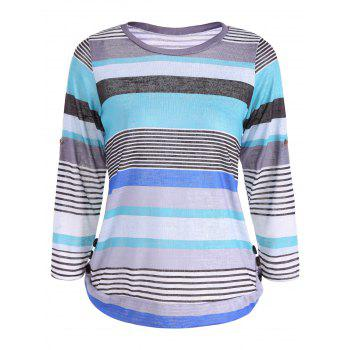 Buy 3/4 Sleeve Striped Color Block T-Shirt LAKE BLUE