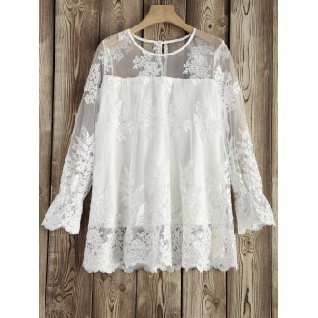 Round Neck See-Through Lace Blouse