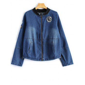 Stand Neck Graphic Patched Denim Jacket