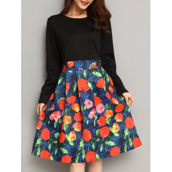High Waist Floral Print Patchwork Dress