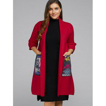 Open Front Plus Size Wool Blend Coat