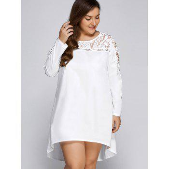 Plus Size Lacework Panel High-Low T Shirt Dress