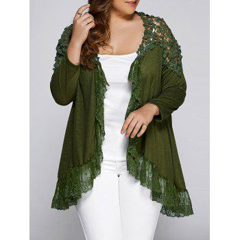 Plus Size Openwork Asymmetric Hem Top