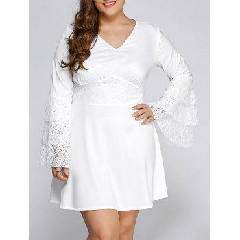 Plus Size Lace Splicing Flare Sleeve V Neck Skater Dress