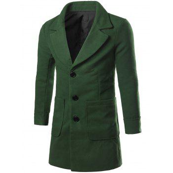 Big Pocket Lapel Collar Wool Blend Coat