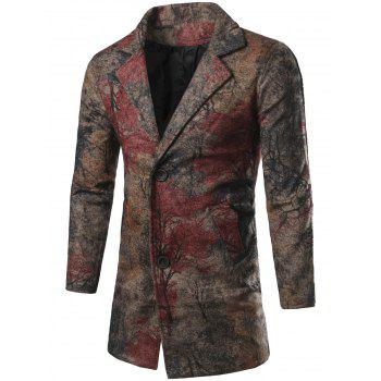 Lapel Collar Chinese Painting Printed Coat