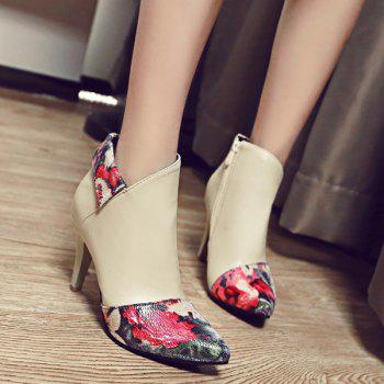 Pointed Toe Color Splicing Floral Print Ankle Boots - BEIGE BEIGE