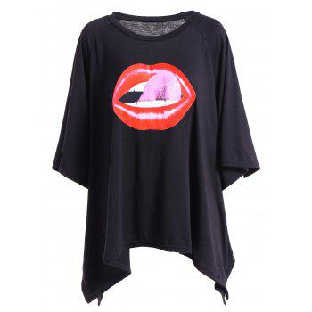 3D Lip Print Asymmetric Plus Size T-Shirt