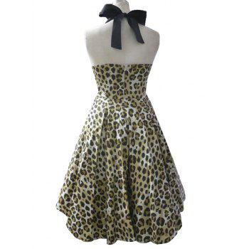 High Waisted Leopard Halter Swing A Line Dress - LIGHT YELLOW LIGHT YELLOW
