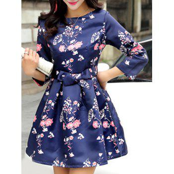 High Waisted Flower Mini Ball Dress